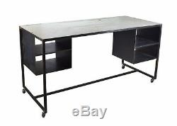 Vintage Industrial Steel Rolling Worktable Standing Desk with Storage Cubbies #2