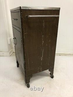 Vintage MEDICAL CABINET Stainless Steel rolling industrial storage metal loft