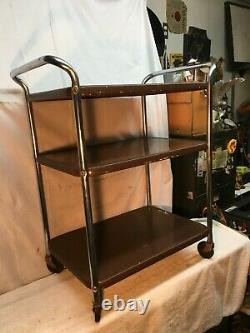 Vtg Cosco Three tier Brown Microwave Rolling Cart Kitchen Shelf storage