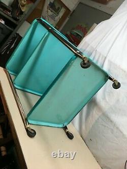 Vtg Cosco Three tier Sea Blue Microwave Rolling Cart Kitchen Shelf storage