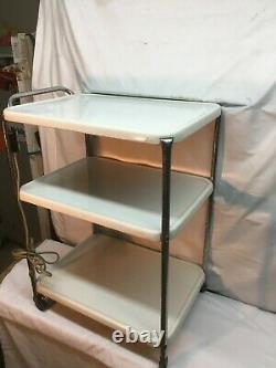 Vtg Cosco Three tier white Microwave Rolling Cart Kitchen Shelf storage