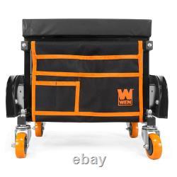 WEN Tool Chest Seat 400 lbs. Capacity Garage Glider Rolling Storage Pouch