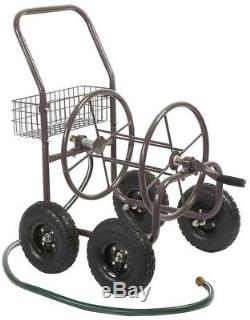Water Hose Reel Storage Cart Portable Holder Mobile Rolling Wheels Garden Crank
