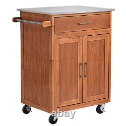 Wood Kitchen Trolley Cart Stainless Steel Top Rolling Storage Cabinet Island New