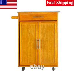 Wood Kitchen Trolley Cart Stainless Steel Top Rolling Storage Cabinet Island US