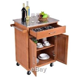 Wooden Kitchen Island Trolley Cart Stainless Steel Top Rolling Storage Cabinet
