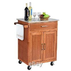 Wooden Kitchen Rolling Storage Cabinet with Stainless Steel Top