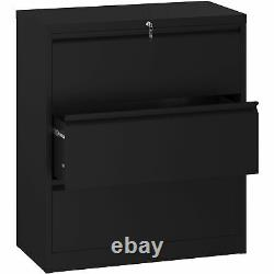 YITAHOME 3 Drawer Lateral File Cabinet Black Steel Storage withLock Filing Storage