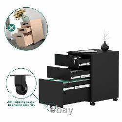 YITAHOME 3-Drawer Steel Rolling File Cabinet Office Storage Organizer Portable