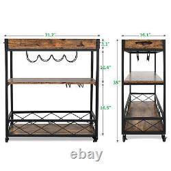 YITAHOME 3 Tier Rolling Kitchen Trolley Utility Cart Pub Shelf Storage Rack Wood