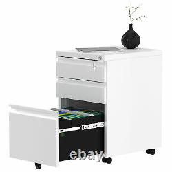 YITAHOME Steel File Cabinet Storage Organizer 3-Drawer Mobile Lock Office Home